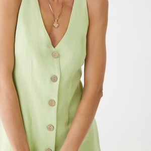 Forever 21 Lime Sleeveless Button-Front Dress
